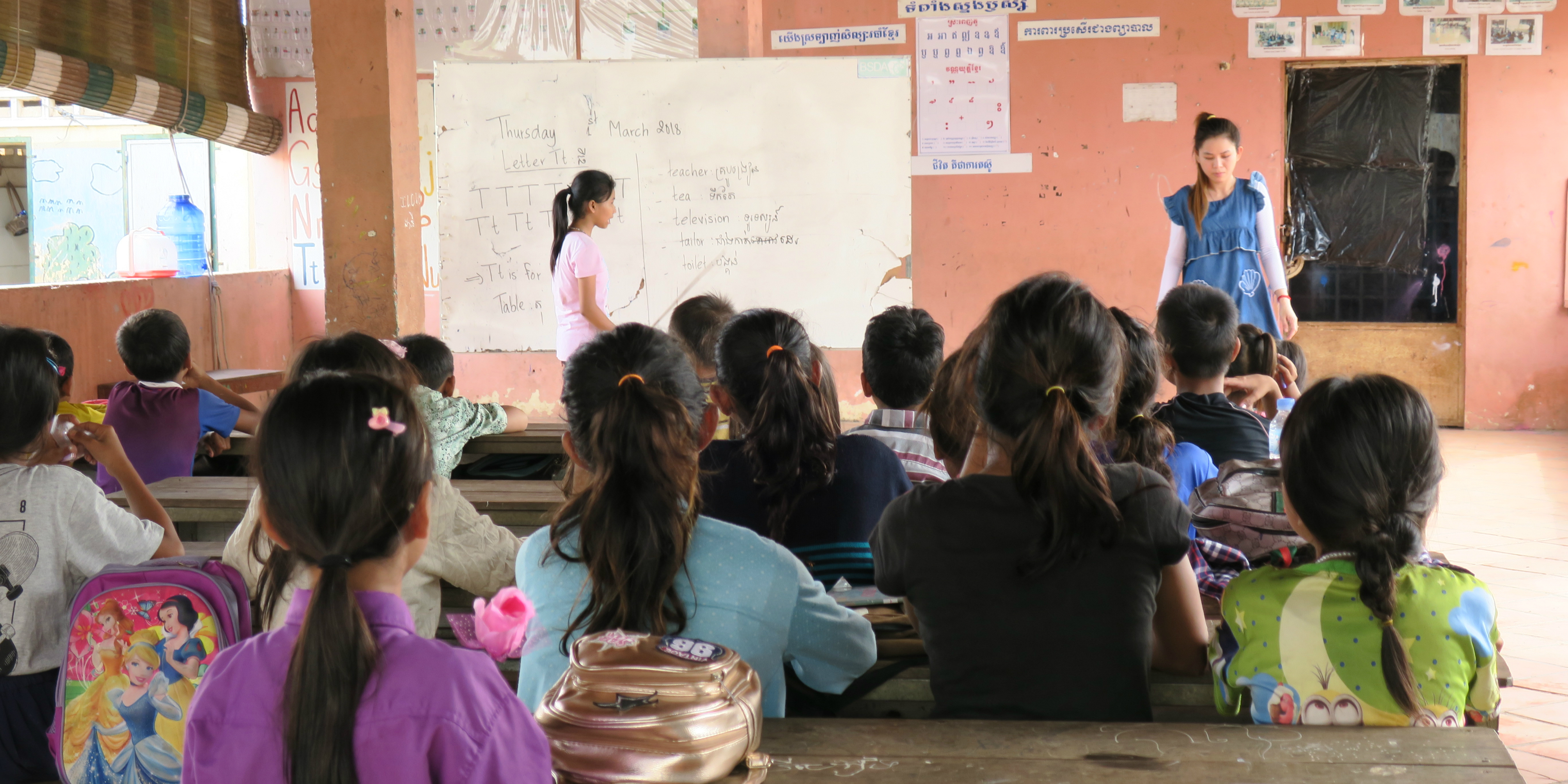 Children in Kampong Cham, Cambodia attend lessons at a local school. GVI partners with local schools and organisations to help increase educational capacity and meet local needs.