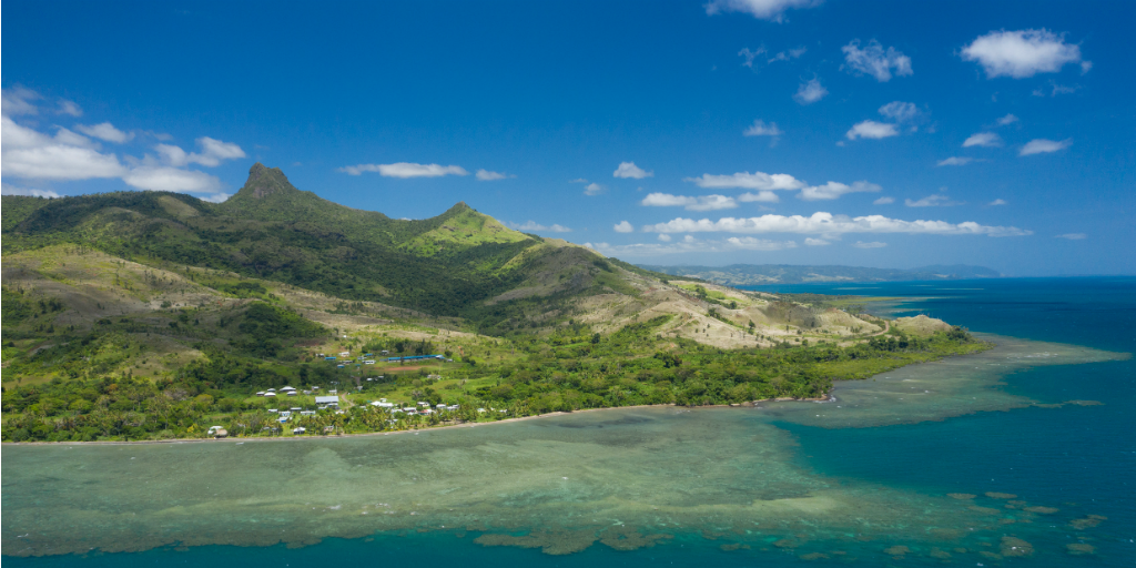 An aerial view of Dawasamu, Fiji