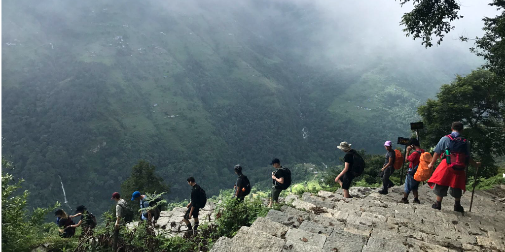 A volunteer group in Nepal from GVI on a Himalayan trek
