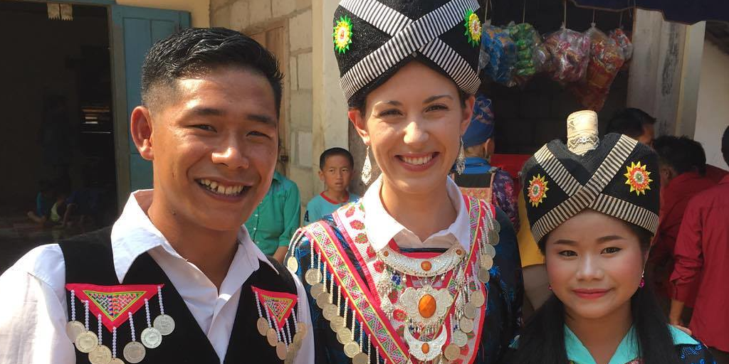 traditional attire at a Hmong wedding